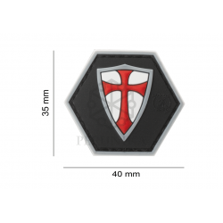 Velcro PVC našitek JTG Crusader shield - rdeč