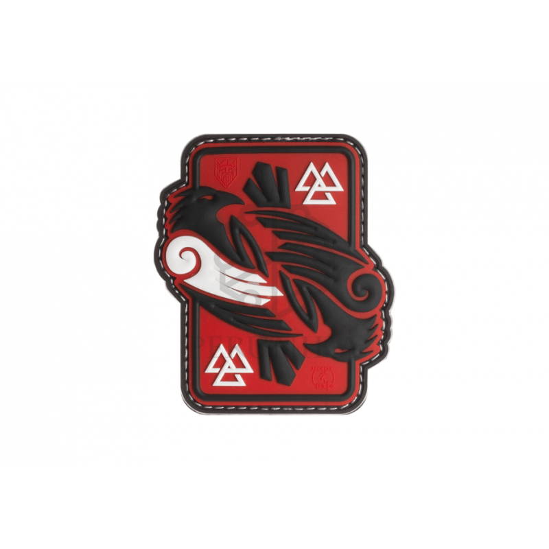 Velcro PVC našitek JTG Odin's Ravens - rdeč