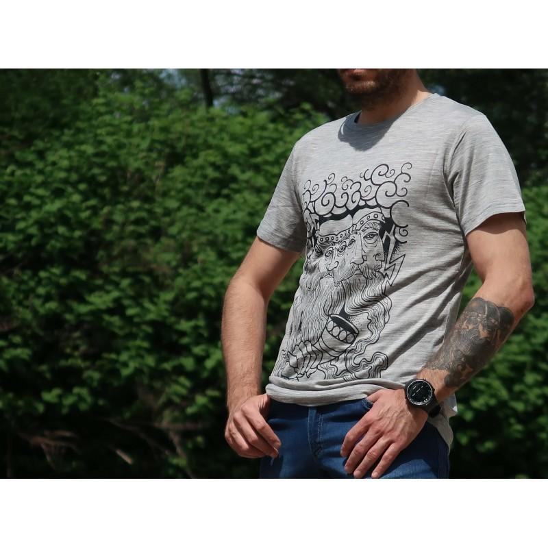 Merino majica s kratkimi rokavi Bogatyr Svantevit - siva
