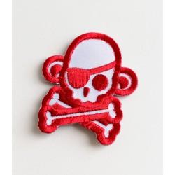 Velcro našitek MSM Skullmonkey Pirate - belo-rdeča