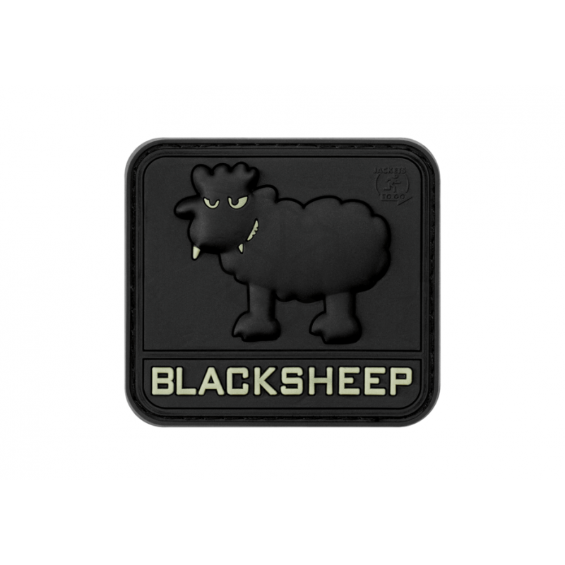 Velcro PVC našitek Black Sheep - green glow