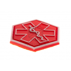 Velcro PVC našitek JTG Paramedic Hexagon - rdeč