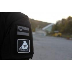 Velcro PVC našitek Polenar Tactical, veliki - črno-bel