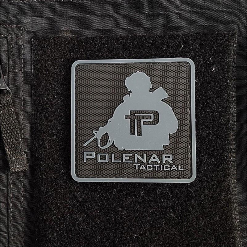 Velcro PVC našitek Polenar Tactical, veliki - črno-siv