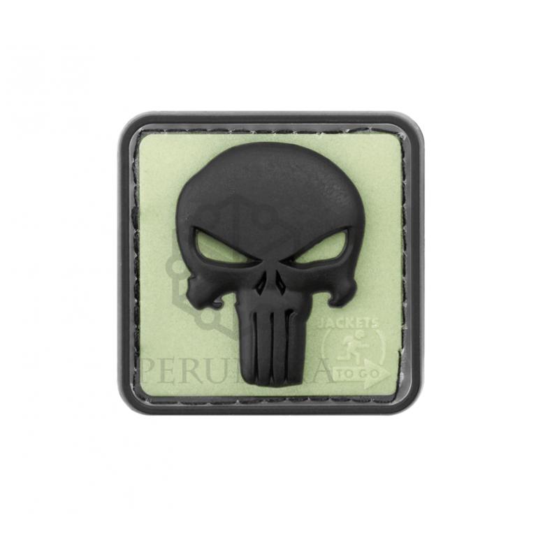 Velcro PVC našitek JTG Punisher - črn (glow ozadje)